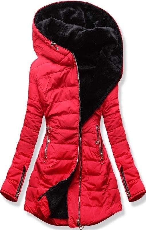 MODOVO Dámska zimná bunda s kapucňou M13 červená - XL