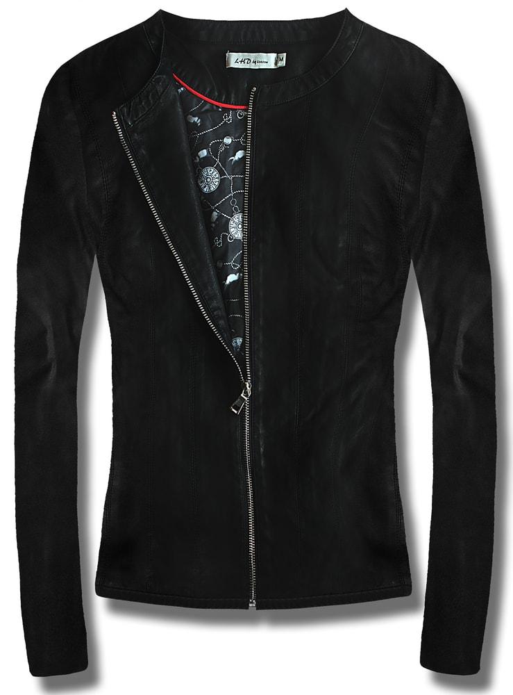 MODOVO Dámska koženková bunda T116 čierna