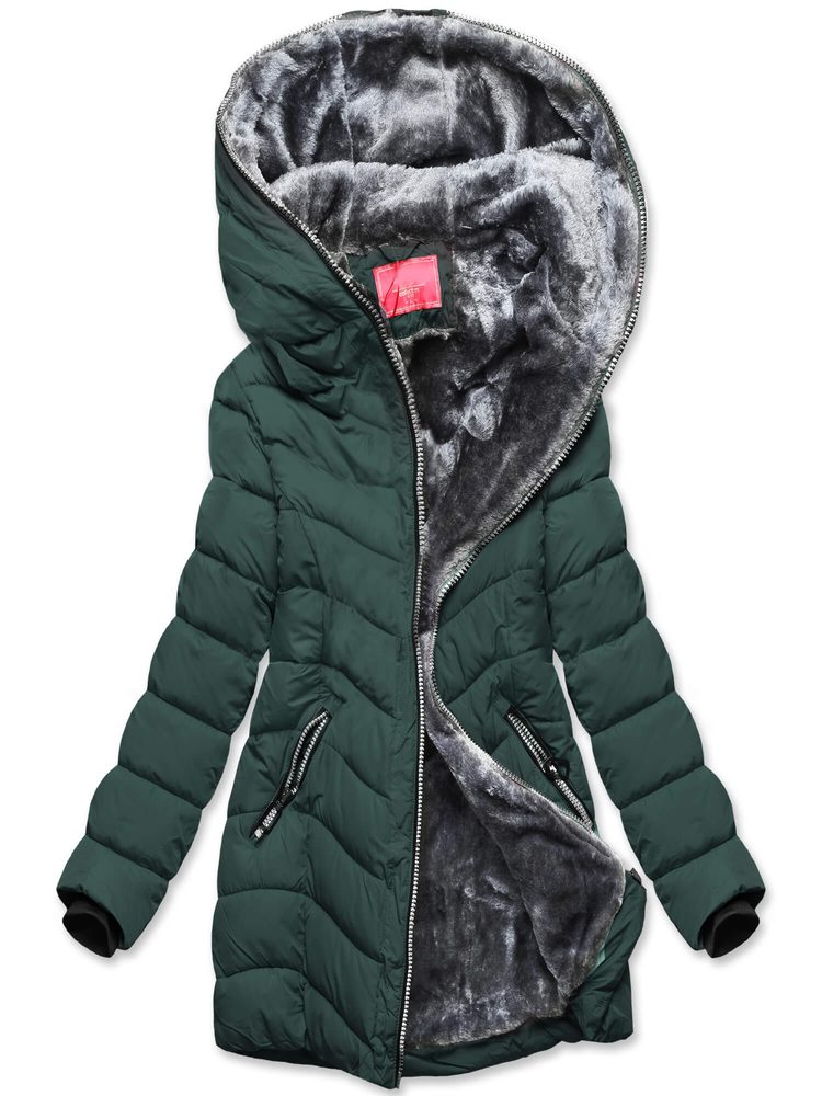 MODOVO Dámska zimná tmavozelená bunda