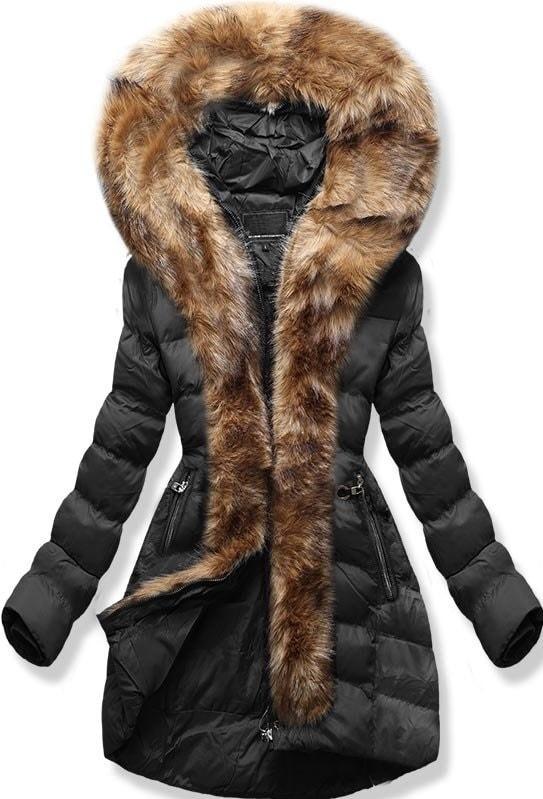 MODOVO Dámska zimná bunda s kapucňou W756 čierna