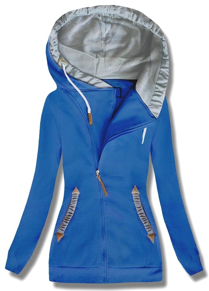 MODOVO Dlouhá dámská mikina s kapucí D370 modrá