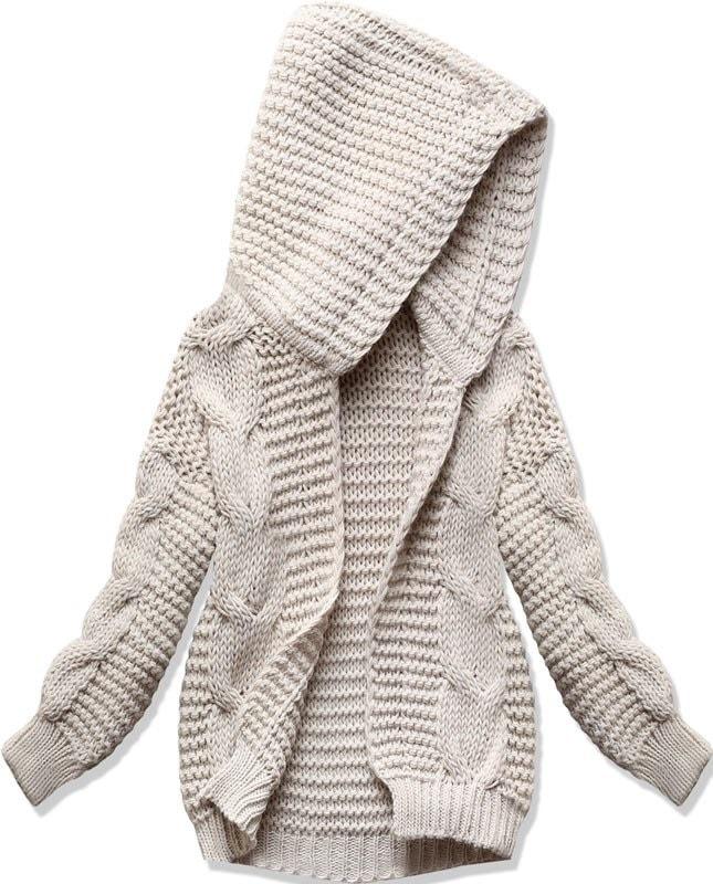 dd7a279f69b5 Dámsky sveter s kapucňou SWEK béžový - Svetre - MODOVO