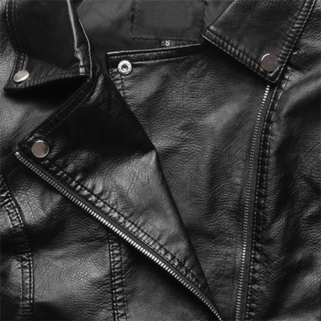 Női műbőr kabát fekete Műbőr dzsekik MODOVO