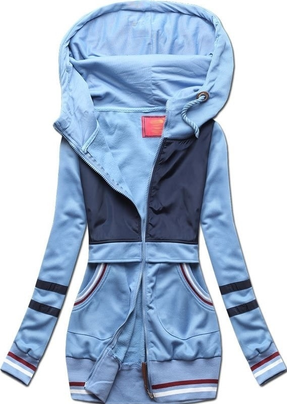 b2c755a2c384 Dlhá dámska mikina s kapucňou D425 modrá - Mikiny - MODOVO