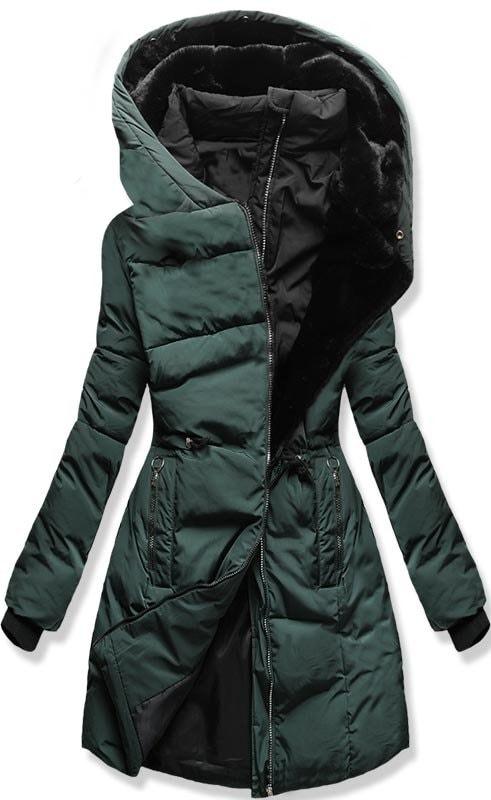 64c1347a6 Dámska zimná bunda s kapucňou M11 zelená - Bundy - MODOVO