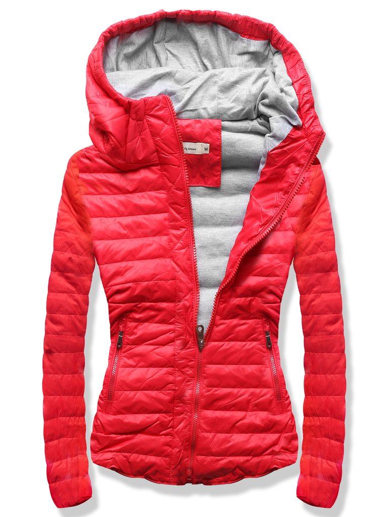 Női steppelt kabát piros