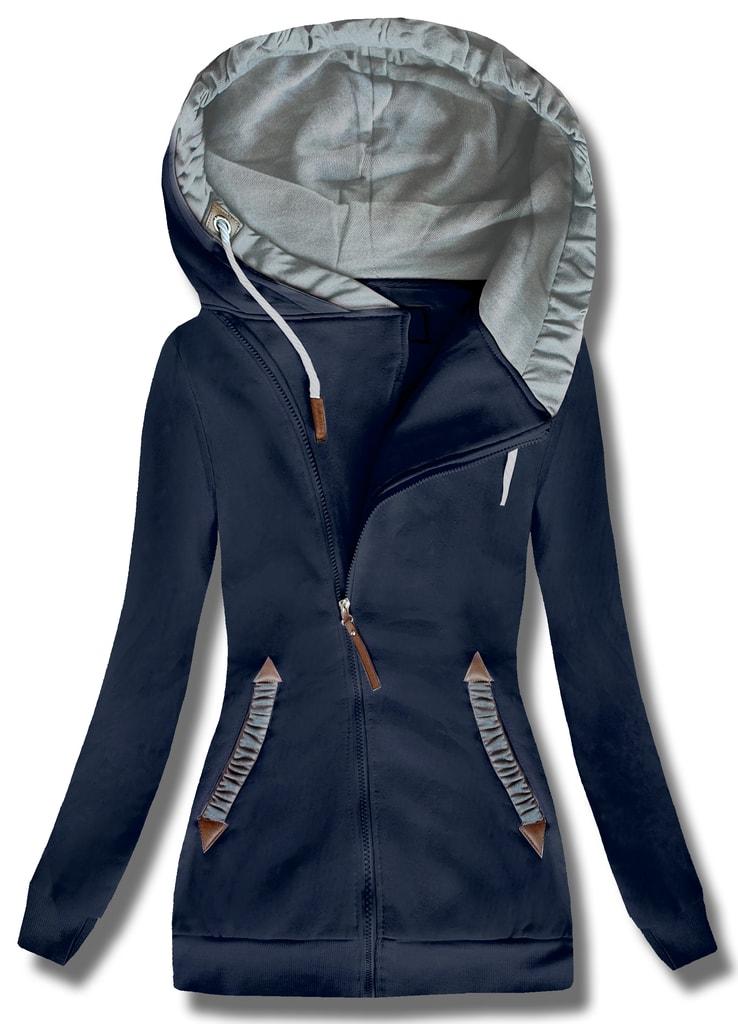 3ec17c3da8 Dlhá dámska mikina s kapucňou D370 tmavo modrá - Mikiny - MODOVO