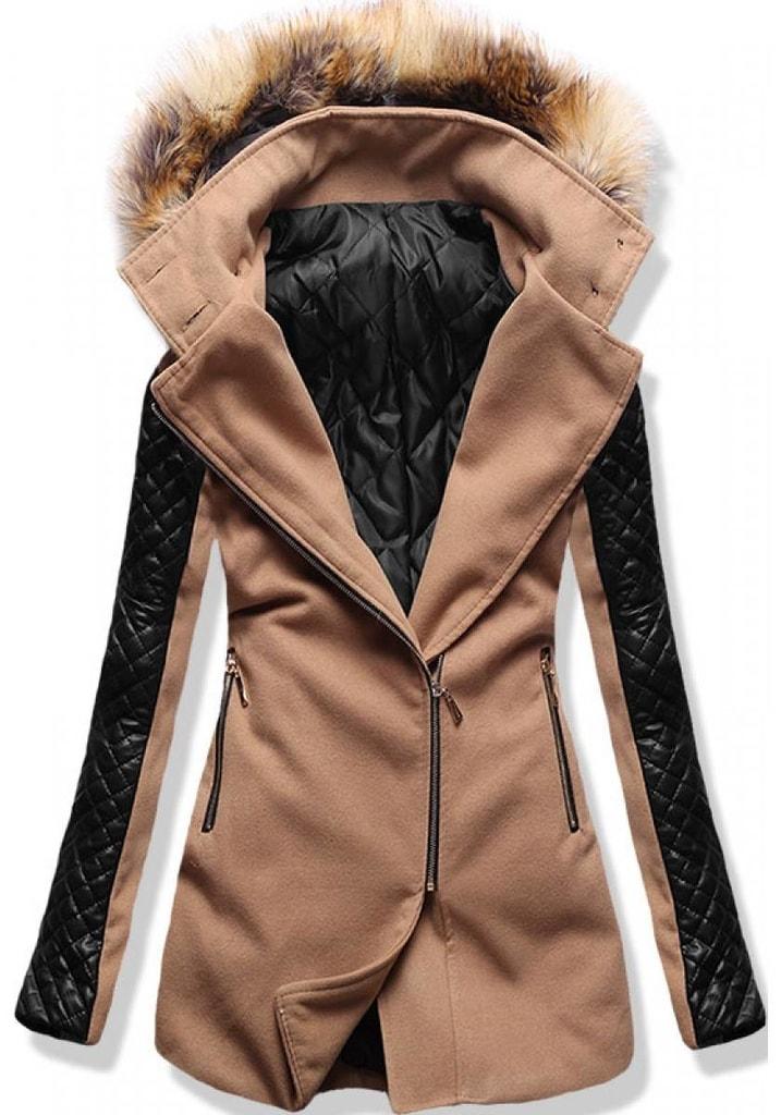 5c9869f515 Női hosszú kabát kapucnival 6710 barna - Kabátok - MODOVO