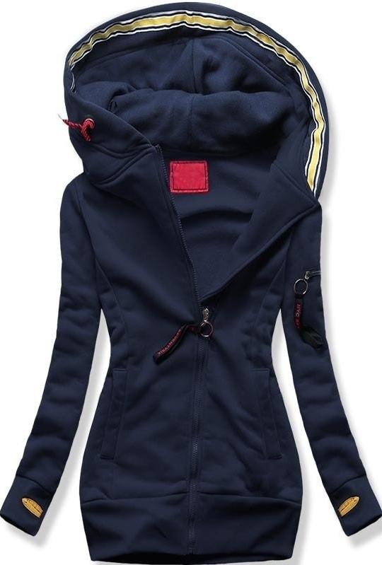 ca8888dc3338 Dlhá dámska mikina s kapucňou D552 tmavo modrá - Mikiny - MODOVO
