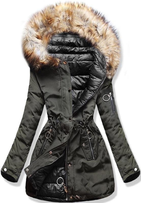 44e1032df3 Női téli kifordítható kabát kapucnival W-707 khaki-fekete - Dzsekik ...