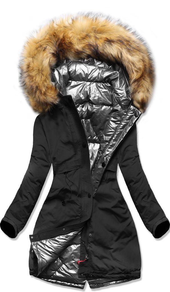Női téli kétoldalas kabát ezüst Téli kabátok MODOVO
