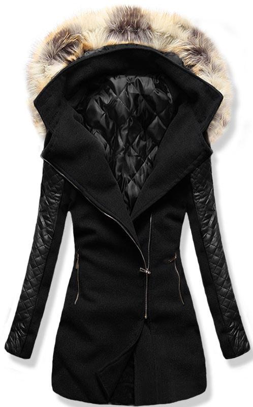 6a871ab1db Dlhý dámsky kabát s kapucňou 6710 čierny - Kabáty - MODOVO