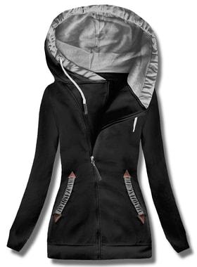 5ee0635c0ae3 Dlhá dámska mikina s kapucňou D370 čierna