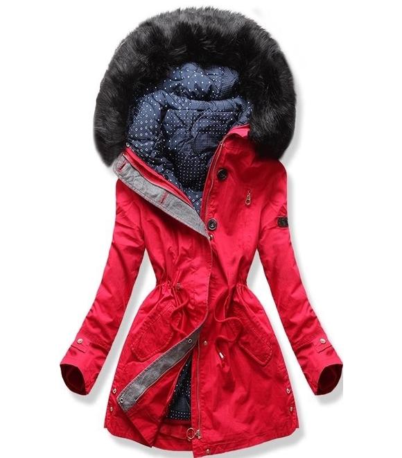 6333cb3081 Dámská zimní bunda s kapucí PO-730 červená - Bundy - MODOVO