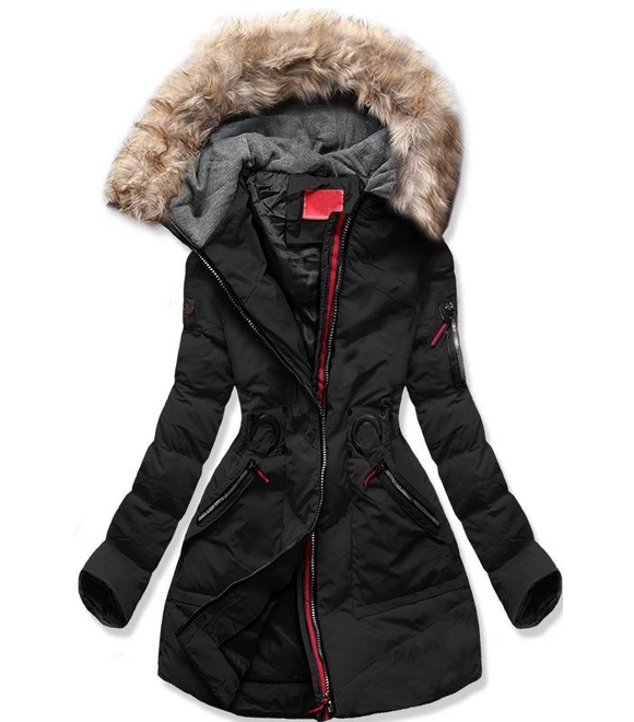 2e6e17591f Női téli kabát kapucnival M-9 fekete - Dzsekik - MODOVO