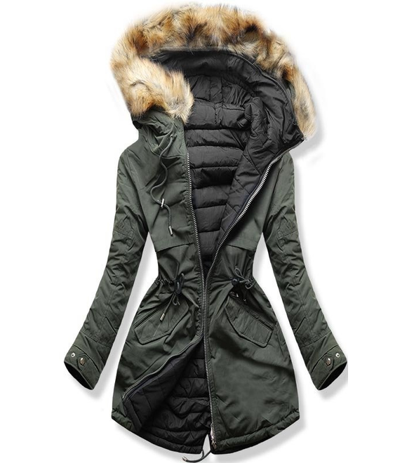 b0fb58a27b Dámska zimná bunda s kapucňou W212 khaki-čierna - Bundy - MODOVO