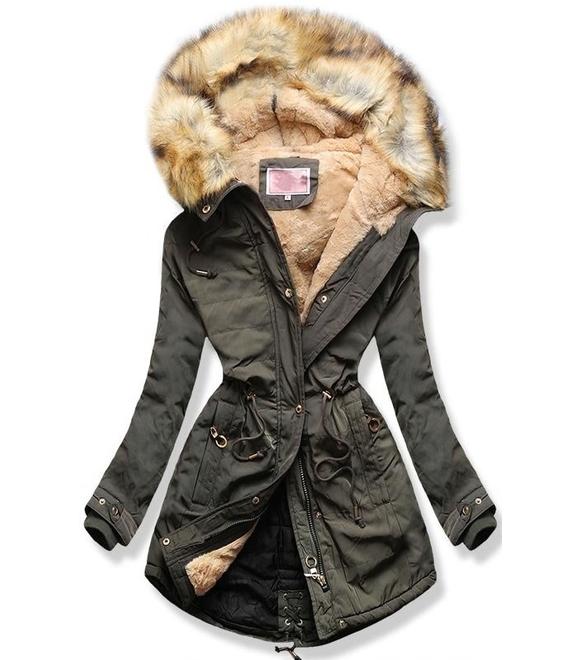 d73ec70647 Dámska zimná bunda s kapucňou W165 khaki - Bundy - MODOVO