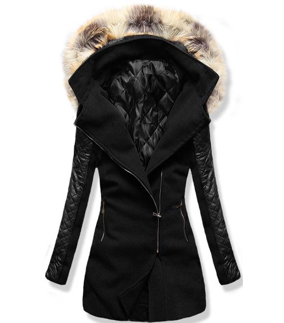 ad4544ed75 Női hosszú kabát kapucnival 6710 fekete - Kabátok - MODOVO