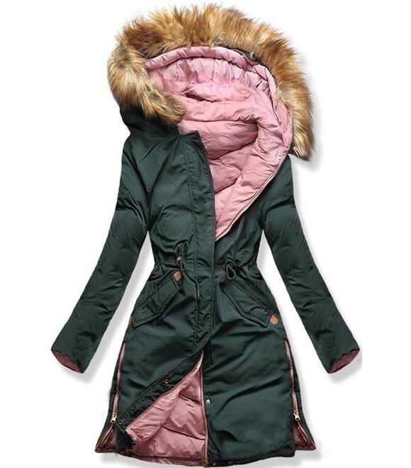 38a4c4ee6e Dámska zimná bunda s kapucňou A5 khaki-púdrová - Bundy - MODOVO