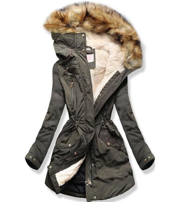 f06fb48060 Dámska zimná bunda s kapucňou W171 khaki - Bundy - MODOVO