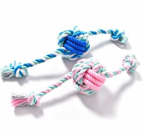 dog rope toy with TPR - růžová