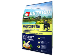 Expirováno ONTARIO Dog Mini Weight Control Turkey & Potatoes 2,25kg 1.6.2019