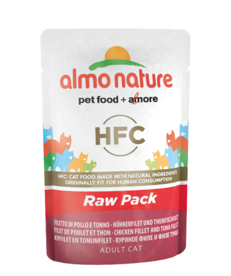 Almo Nature HFC Raw Pack WET CAT - Filet kuřete a tuňáka 55g