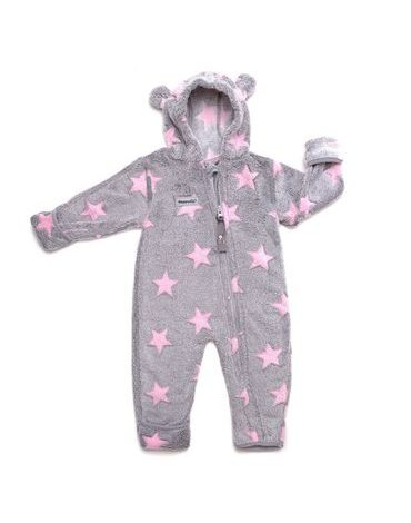 Hoppediz fleece overal Grey-rose s hvězdami