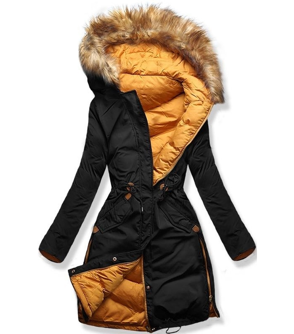 low priced 73f48 1fd82 Damen Winterjacke mit Kapuze A5 Schwarz-Orange