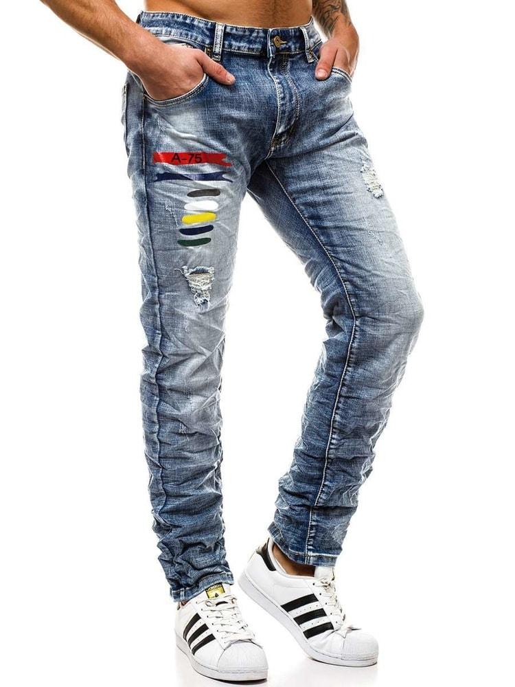 Pantaloni jeansi moderni barbatesti, culoare albastra  T/918053