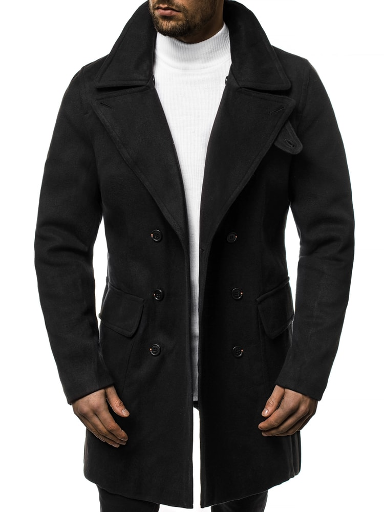 Palton elegant NEGRU  JB/1048Z
