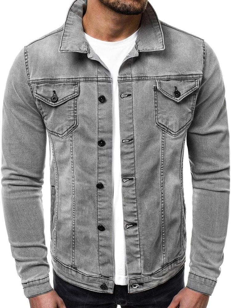 Geaca jeans gri inchis OZONEE OT/2051