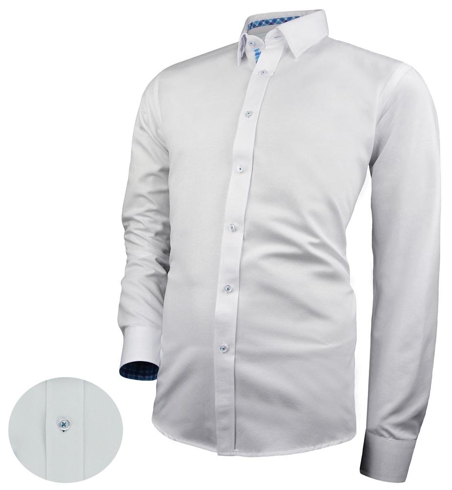 Camasa alba combinata cu albastru pentru barbati V278
