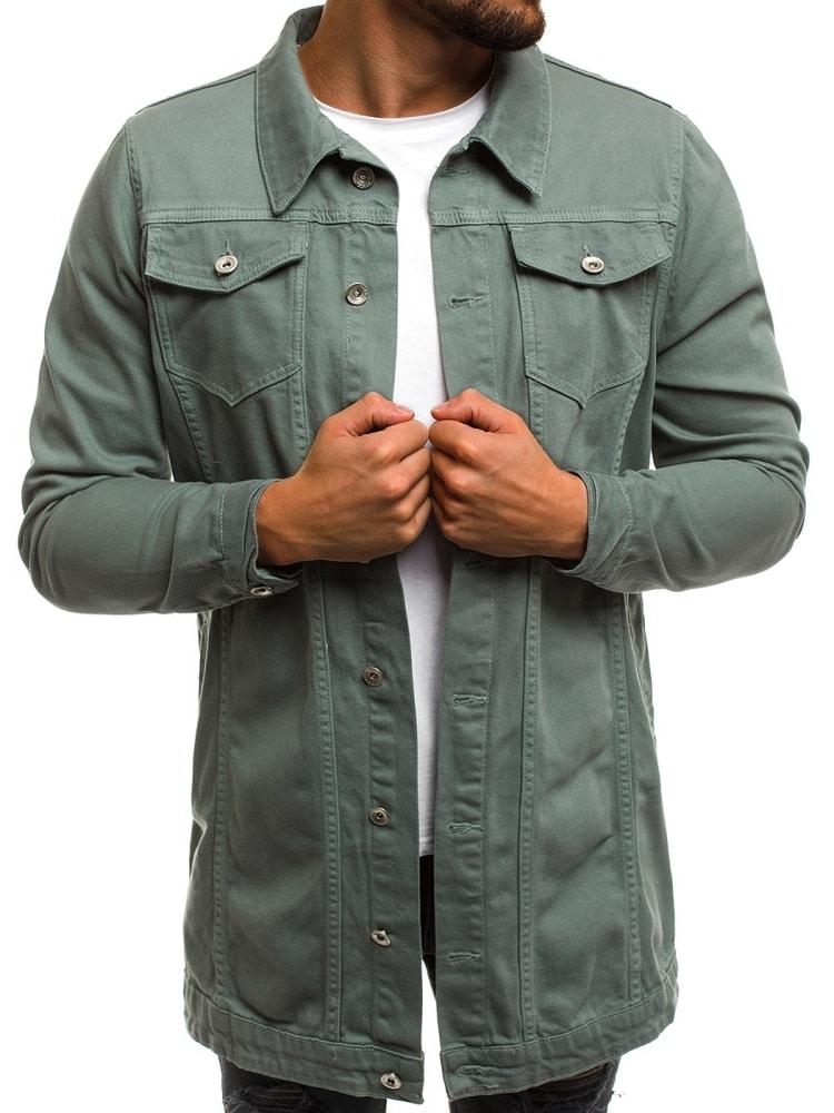 Geaca jeans gri cu talie prelungita OT/2038K/3