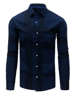 Camasa interesanta SLIM FIT bleumarin