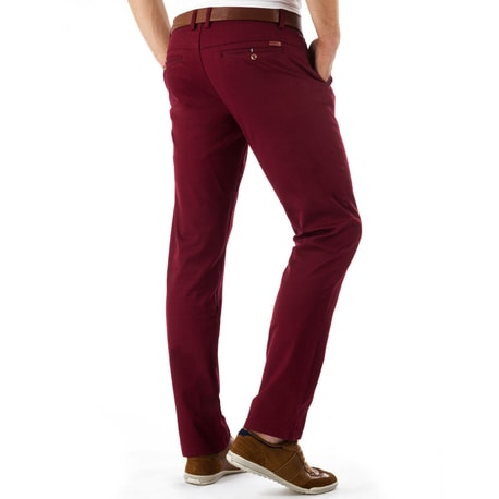 Pantaloni barbatesti chino de culoare bordo