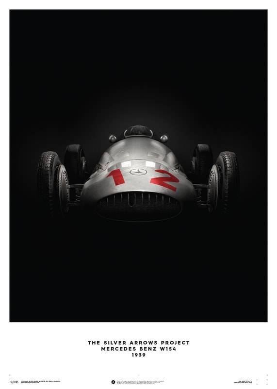 Mercedes Benz W154 - Silver - 1938 - Poster