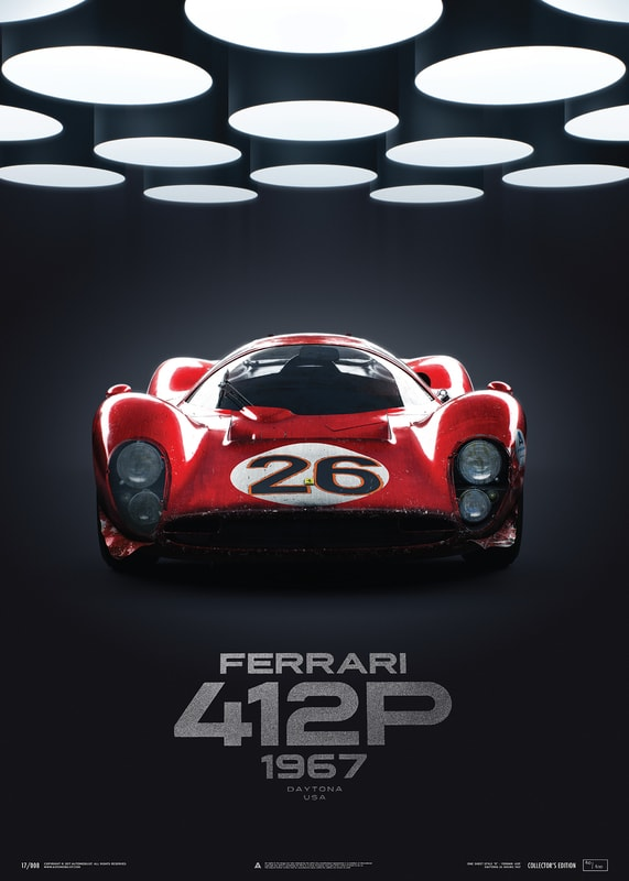 Ferrari 412P - Red - 24 Hours of Daytona - 1967 - U&L Edition Poster