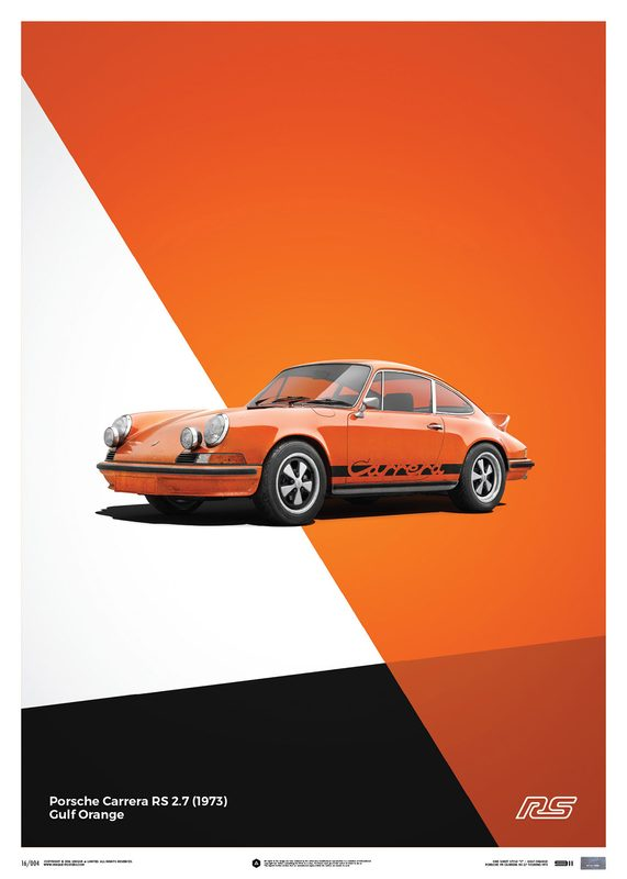 Porsche 911 RS - Orange - Limited Poster | Unique #s
