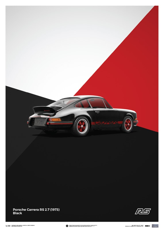 Porsche 911 RS - Black - Limited Poster
