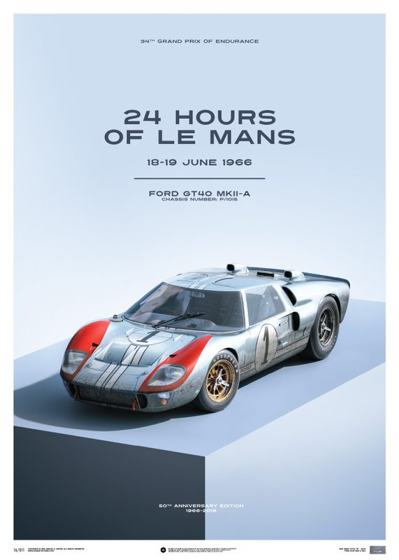Ford GT40 - Blue - 24h Le Mans - 1966 - Limited Poster | Unique #s