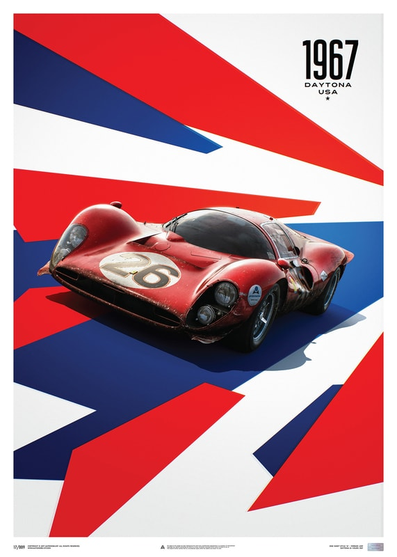 Ferrari 412P - Red - 24 Hours of Daytona - 1967 - Limited Poster