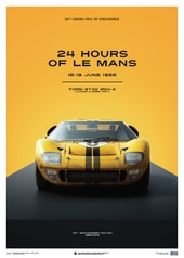 FORD GT40 - YELLOW - 24H LE MANS - 1966 - LIMITED POSTER - DESIGN POSTERS