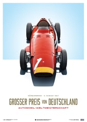 MASERATI 250F - JUAN MANUEL FANGIO - RED - GERMAN GP - LIMITED POSTER - DESIGN POSTERS