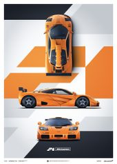 MCLAREN F1 LM - PAPAYA ORANGE - POSTER - UNLIMITED EDITION