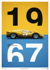 FERRARI 412P - YELLOW - SPA-FRANCORCHAMPS - 1967 - LIMITED POSTER - DESIGN POSTERS