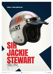 SIR JACKIE STEWART - HELMET - 1969 - POSTER - UNLIMITED EDITION