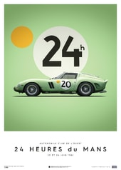 FERRARI 250 GTO - GREEN - 24H LE MANS - 1962 - LIMITED POSTER - DESIGN POSTERS