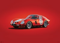 FERRARI 250 GTO - RED - 24H LE MANS - 1962 - COLORS OF SPEED POSTER - UNLIMITED EDITION