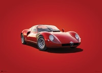 ALFA ROMEO 33 STRADALE - RED - 1967 - COLORS OF SPEED POSTER - UNLIMITED EDITION